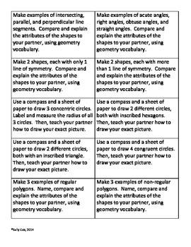 Geometry: Compass & Geoboard Task Cards