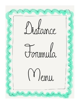 Geometry Distance Formula Menu