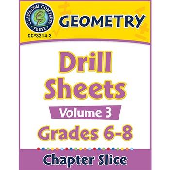 Geometry - Drill Sheets Vol. 3 Gr. 6-8