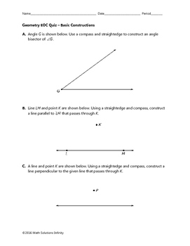 Geometry EOC Quiz - Basic Constructions BUNDLE
