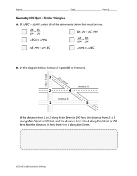 Geometry EOC Quiz - Similar Triangles BUNDLE