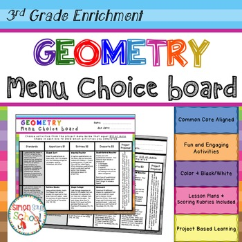 Geometry Enrichment Choice Board – 3rd Grade