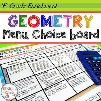 Geometry Enrichment Choice Board – 4th Grade