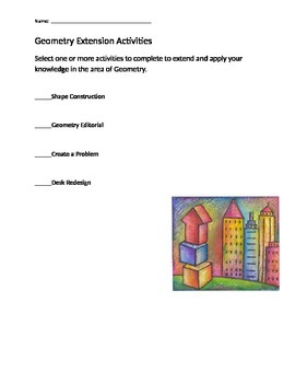 Geometry Challenge Extension Activities for Fast Finishers