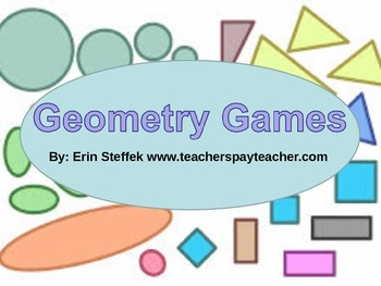Geometry Games - 10 Printable Geometry Games with Recordin