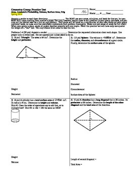 Geometry Group Practice Test Area Geo Prob Vol Surface Are