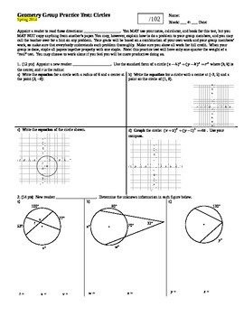 Geometry Group Practice Test Circles Spring 2014