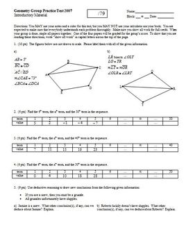 Geometry Group/Practice Test Introductory Material 2007 two pages