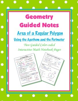 Geometry Guided Interactive Math Notebook Page: Area of Re