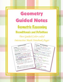 Geometry Guided Interactive Math Notebook Page: Bicondtion
