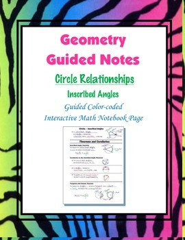 Geometry Guided Interactive Math Notebook Page: Circles: I