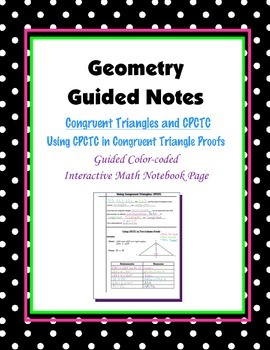 Geometry Guided Interactive Math Notebook Page: Congruent