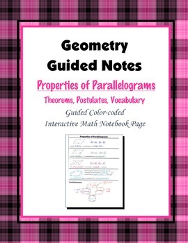 Geometry Guided Interactive Math Notebook Page: Properties