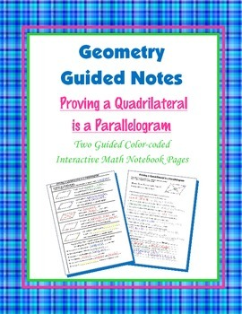 Geometry Guided Interactive Math Notebook Page: Proving Pa
