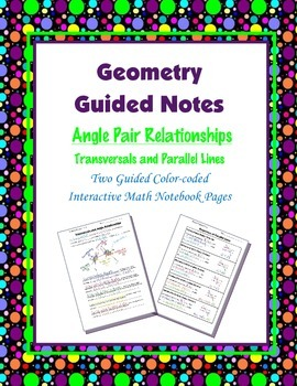 Geometry Guided Interactive Math Notebook Page: Angle Pair