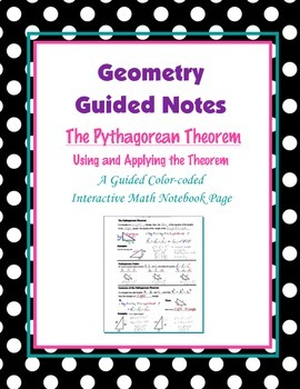 Geometry Guided Interactive Math Notebook Page: The Pythag