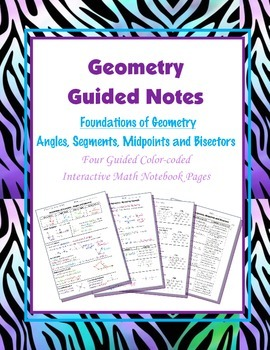Geometry Guided Interactive Math Notebook Page: Segments,