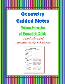 Geometry Guided Interactive Math Notebook Page: Volume For