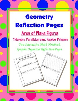 Geometry Interactive Math Notebook {Reflection} {11}: Area