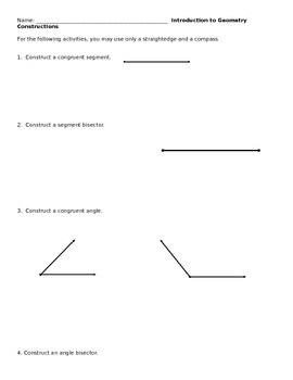 Geometry: Introduction to Constructions