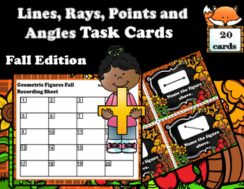 Geometry - Lines, Rays, Points, and Angles Task Cards (Fal