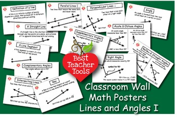 Geometry Posters, Math Concept Posters, Lines & Angles Wal