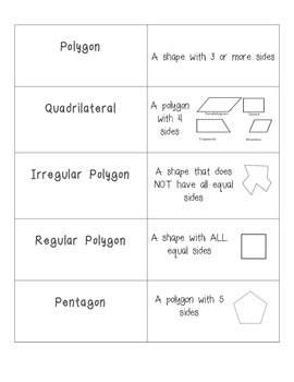 Geometry Vocabulary Cards
