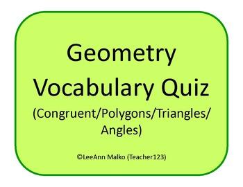 Geometry Vocabulary Matching Quiz (Congruent/Polygons/Tria