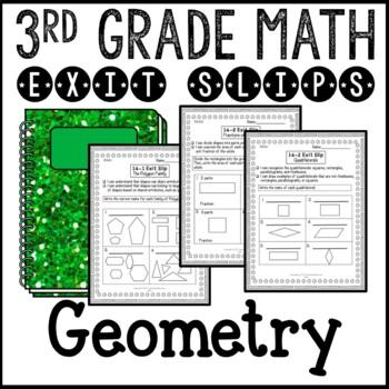 Geometry Shape Attributes Math Exit Slips 3rd Grade Common Core