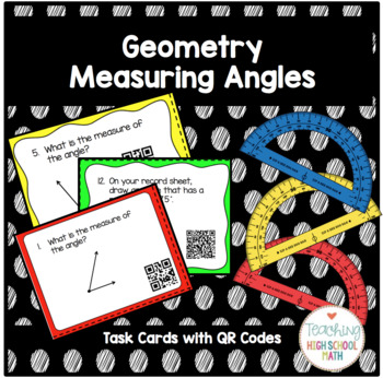 Geometry Measuring Angles Using a Protractor Task Cards w/