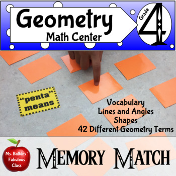 Geometry Memory Match Vocabulary Center Game
