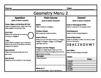 Geometry Menu: Appetizer, Main Course, and Dessert 2