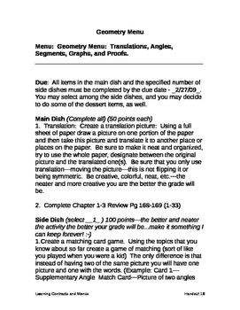 Geometry Menu Translations Angles Segments Graphs Proofs