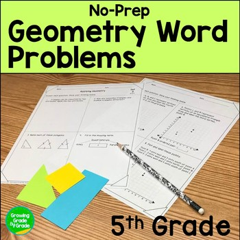 Geometry Worksheets: No-Prep 5th Grade Word Problems