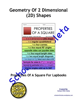 Geometry Of 2 Dimensional (2D) Shapes: Properties Of A Squ