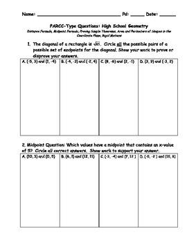 Geometry PARCC-lIke Questions - Algebraic Proofs and Trans