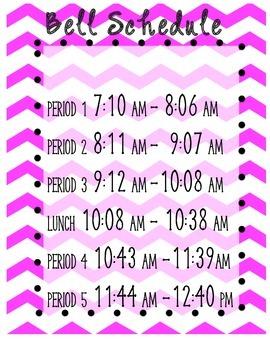 School Bell Schedule Poster
