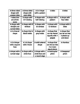 Geometry Practice and Bingo