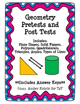 Geometry Pretests and Post Tests (Common Core Aligned) *WI