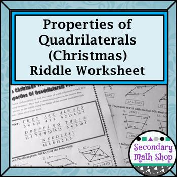 Quadrilaterals - Properties of Quadrilaterals Christmas Ri