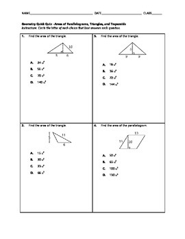 Geometry Quick Quiz - Areas of Parallelograms, Triangles,