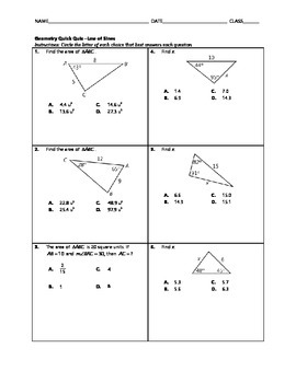 Geometry Quick Quiz - Law of Sines