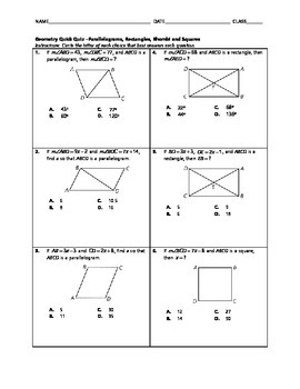 Geometry Quick Quiz - Parallelograms, Rectangles, Rhombi a