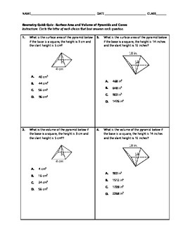Geometry Quick Quiz - Surface Area and Volume of Pyramids