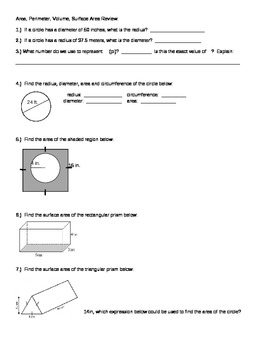 Geometry Review:  Area, Perimeter, Circumference, Surface