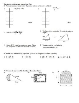 Geometry Review for the Areas and Inequalities Test
