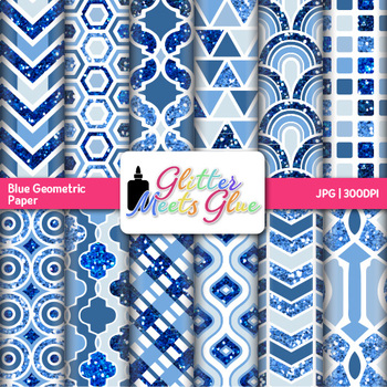 Blue Geometry Paper {Scrapbook Backgrounds for Task Cards