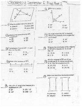 Geometry Semester 1 Final Exam