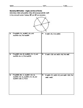 Geometry Skill Builder - Angles and Arcs of Circles