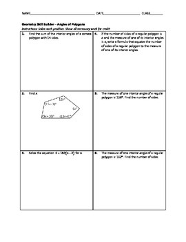 Geometry Skill Builder - Angles of Polygons